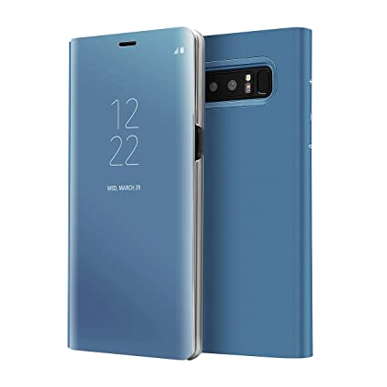 AICase Galaxy Note 8 Case, Luxury Translucent View Window Front Smart  Sleep/Wake Up Function Mirror Screen Flip Electroplate Plating Stand Full  Body