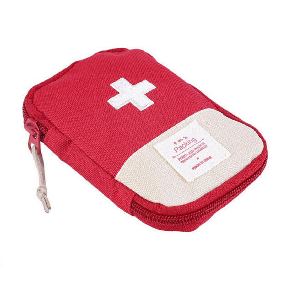 Finance Plan Mini Outdoor Camping Travel Response Case Portable First Aid Kit Bag Pill Pouch (Red)