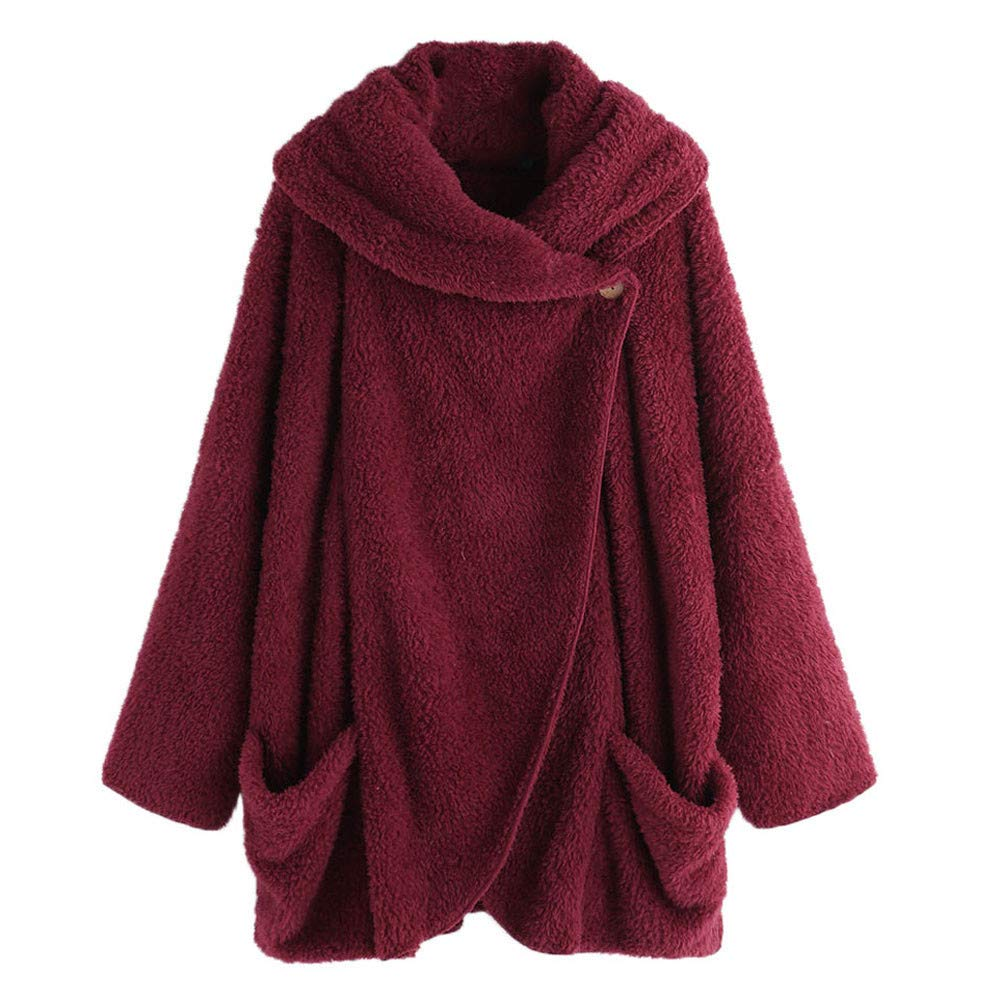 Women Winter Warm Fleece Long Sleeve Button Flannel Sweatshirt Hooded Pocket Tops Cardigan Sweater Coat BCDshop BCD-ZYL2Dr