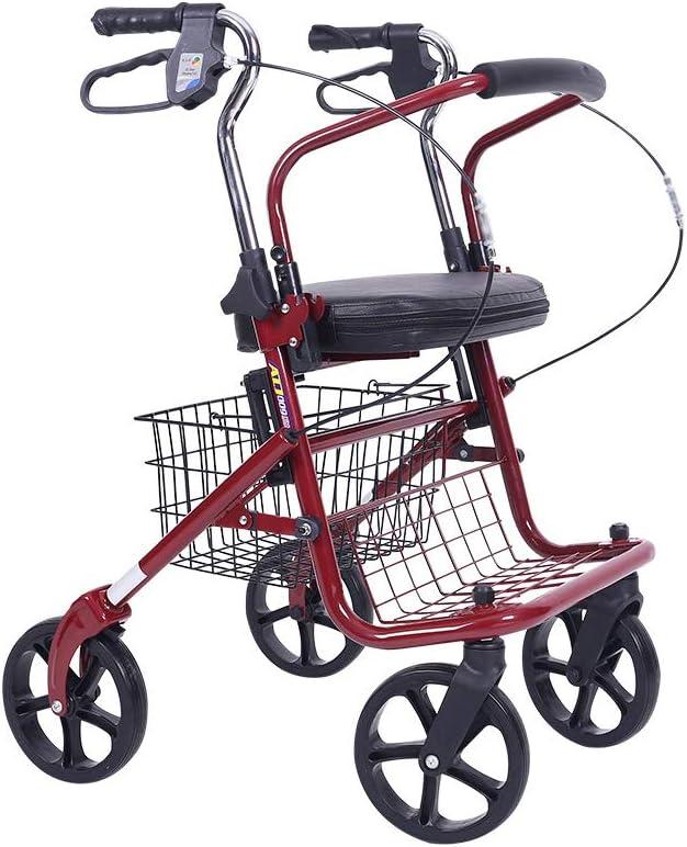 XJZHAN Andador De Andador De Aluminio Plegable Ligero con Asiento Acolchado De 4 Ruedas con Placa De Pedal Y Canastilla Debajo del Asiento Ayuda para Caminar
