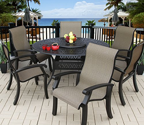 Heritage Outdoor Living Cast Aluminum Barbados Sling Outdoor Patio 6 Person Dining Set with 60