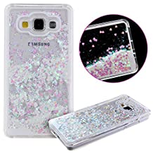 Samsung Galaxy A5 Case,YGLING Liquid Glitter Transparent 3D Glitter Quicksand and Bling Sparkle Love Heart Dynamic Flowing Clear Hard Back Case for Samsung Galaxy A5 (2015) (Love Heart:Silver)