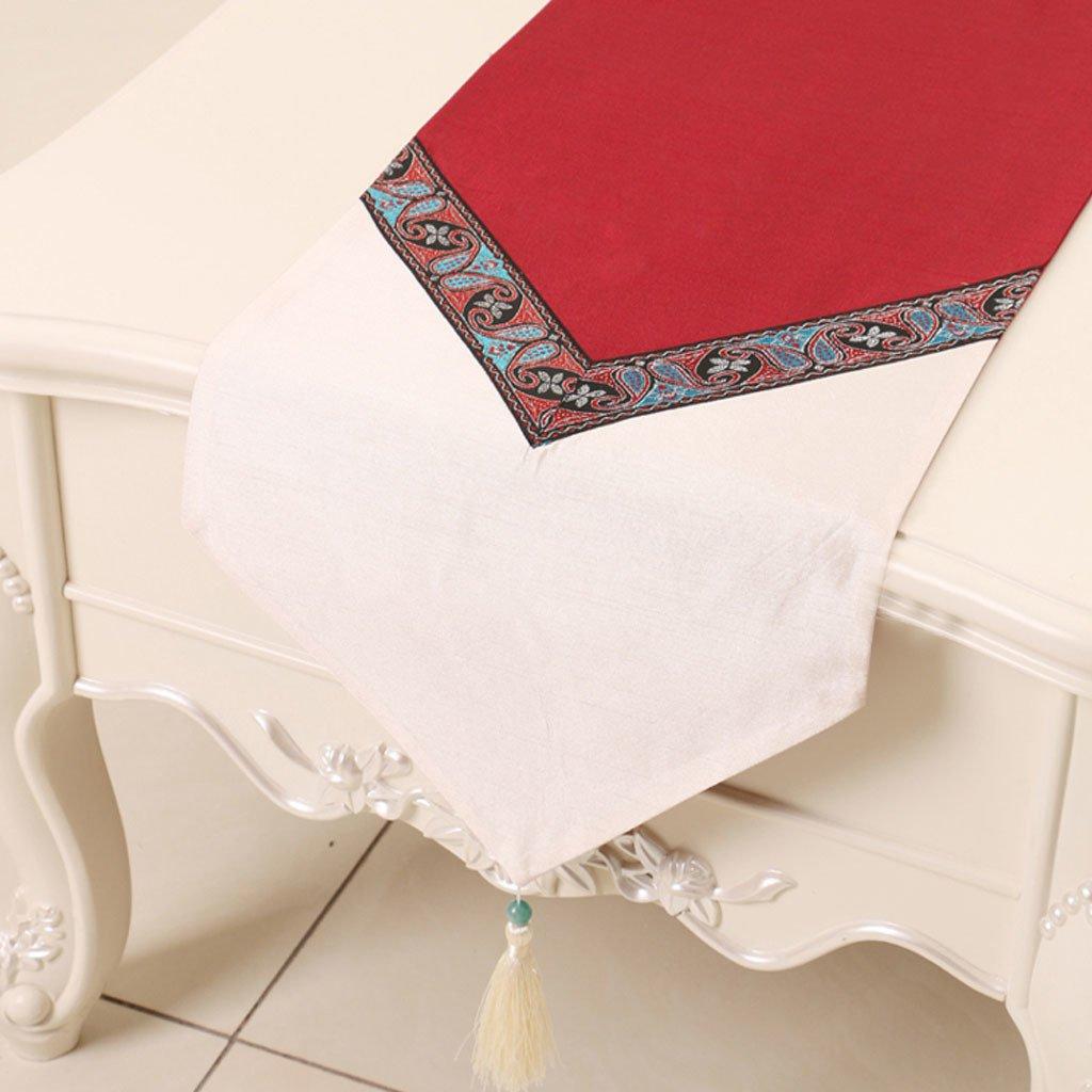 CYALZ Bianco Rosso Bianco Biancheria da tavolo Tessuto da tavolo Moderno Moda semplice Upscale Soggiorno Cucina Ristorante Hotel Tessuti casa (Questo prodotto solo vende corridore da tavolo) 33  230cm