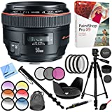 Canon EF 50mm f/1.2L USM Lens with Case and Hood Plus 72mm Filter Sets and Accessories Bundle