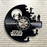 Death Star Star Wars Gift Vinyl Record Wall Clock Fan Art Black Room Decor Idea