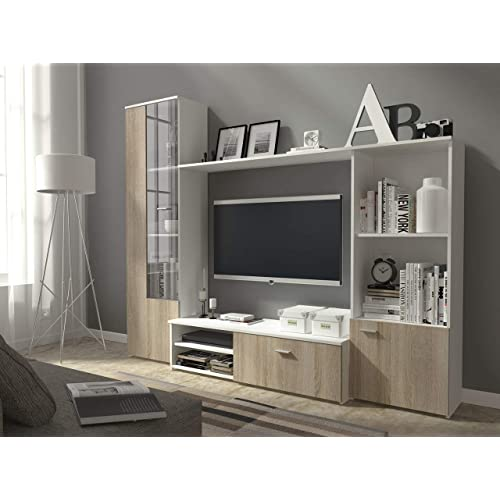 HUGO TV Unit Wall Unit Living Room Furniture (White + Oak Sonoma)