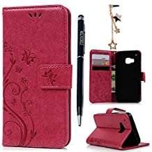 HTC One M9 Case,HTC M9 Case- MOLLYCOOCLE® [Natural Luxury Hot Pink]Stand Wallet Purse Credit Card ID Holders Magnetic Flip Folio TPU Soft Bumper PU Leather Ultra Slim Fit Skin Cover for HTC One M9