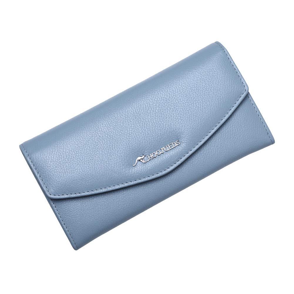 bluee Women's Wallet Leather Tote Wallet Storage Bag Large Phone Checkbook Holder Zipper Pocket
