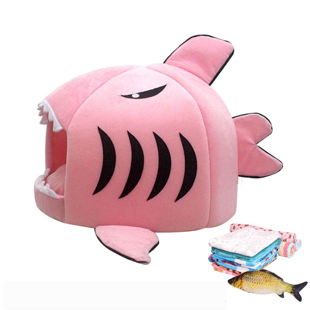 Shark Style Powder 1-535343cm Shark Style Powder 1-535343cm Pet nest, warm winter short plush cat dog mattress, grey pink two colors + toy shark