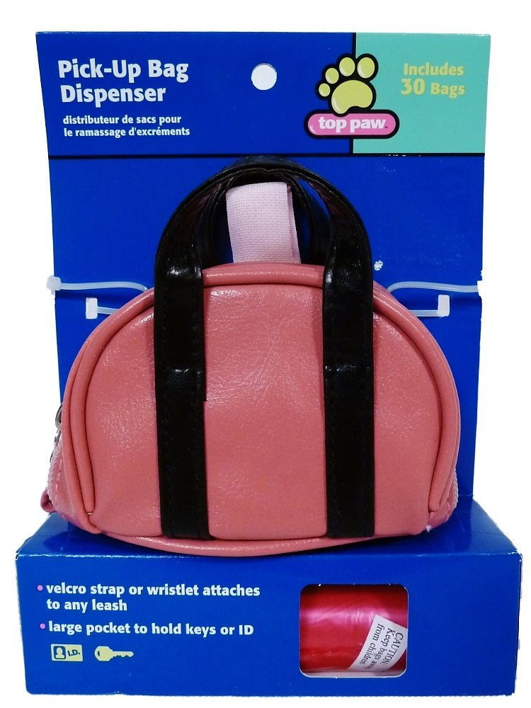 Top Paw Dog Pick-up Bag Dispenser with 30 Bags  Pink & Black