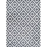 gray moroccan trellis area rug carpet large new