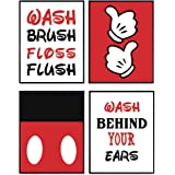 Mickey Mouse Bathroom Wall Art Prints Set - Home Decor For Kids, Childs, Childrens, Baby or Toddlers Bath - Gift for Disney W