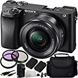 Sony Alpha a6300 Mirrorless Digital Camera with 16-50mm f/3.5-5.6 OSS Zoom Lens 11PC Accessory Kit. Includes 3PC Filter Kit (UV-CPL-FLD) + 2 Replacement FW50 Batteries + AC/DC Rapid Home & Travel Charger + Mini HDMI Cable + Carrying Case + MORE