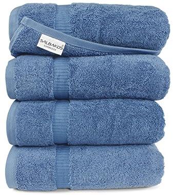 Turkish Luxury Hotel & Spa 27 x54  Bath Towel Set of 4 - 100% Genuine Turkish Cotton - Eco-Friendly (Bath Towels, Blue)