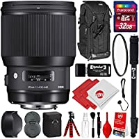 Sigma 85mm F1.4 Art DG HSM Lens for Canon DSLR Cameras w/ 32gb Pro Photo and Travel Bundle