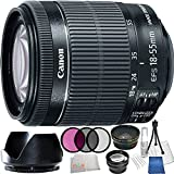 Canon EF-S 18-55mm f/3.5-5.6 IS STM Lens (White Box) Kit for Canon EOS Rebel Digital SLR Cameras Includes:0.43x Wide Angle Lens + 2.2x Telephoto Lens + 3 Piece Filter Kit (UV-CPL-FLD) + Lens Hood & More - International Version with No Warranty