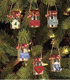 set of 6 mini mason jar ornaments - Primitive Christmas Tree Decorations