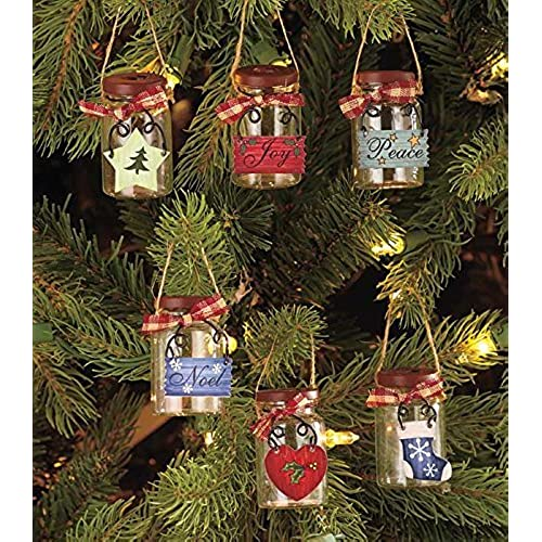 set of 6 mini mason jar ornaments - Country Christmas Decorations