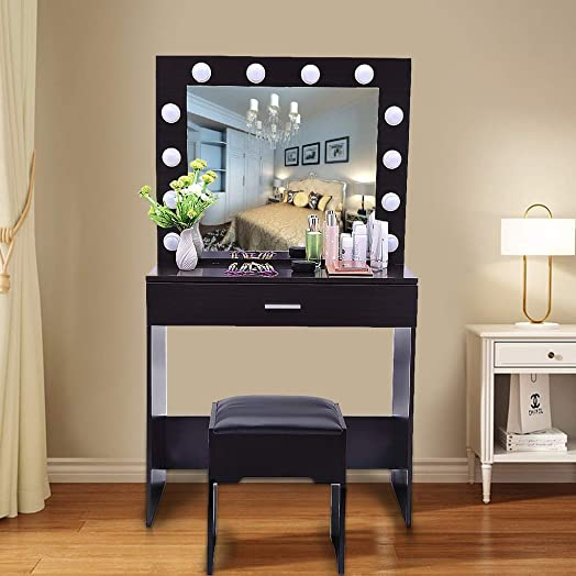 Vanity Set with Lighted Mirror, Makeup Dressing Table with 12 LED Dimmable Bulbs, Touch Switch, 1 Drawers 2 Dividers, Modern Bedroom Makeup Table with Cushioned Stool for Women Girls