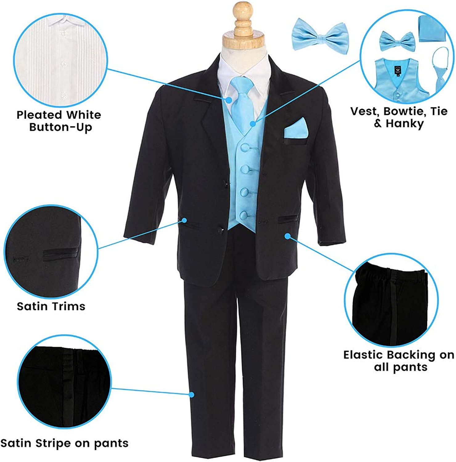 Little Gents Boys Tuxedo Suit Toddler Tuxedo for Wedding and Communion Modern Fit