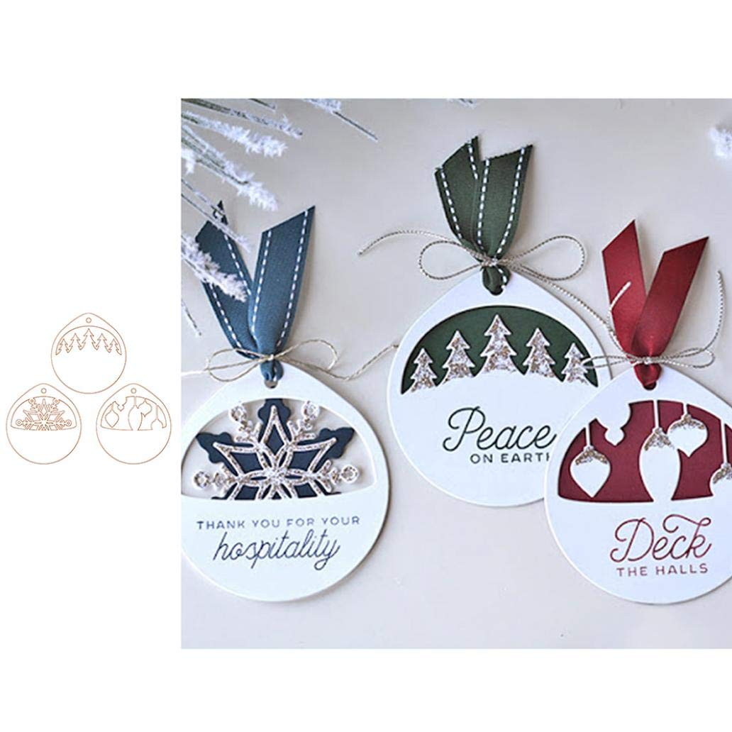 Cutting Dies,Uticon Christmas Tag Round Metal DIY Scrapbook Emboss Paper Cards Decor Silver