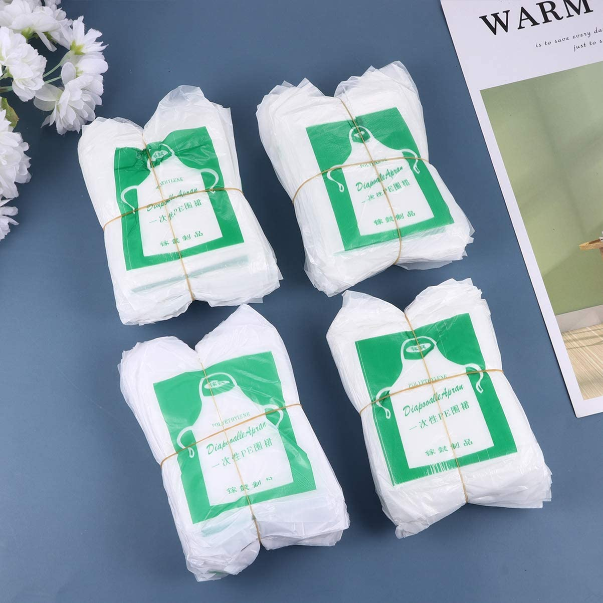 100pcs Children Disposable Aprons Waterproof Transparent for Painting Cooking