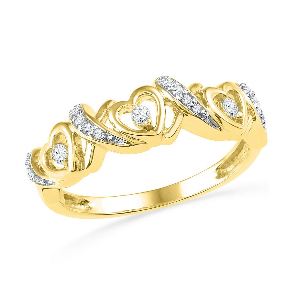 10kt Yellow Gold Womens Round Diamond Heart Love Band Ring 1/8 Cttw