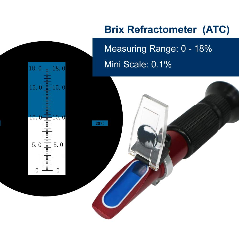 0 to 18% Brix Hand Held Rhino Refractometer with Automatic Temperature Compensation, with Low Sugar Fruits, Vegetable Juice, Maple Sap, Cutting Liquids Test