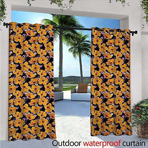 Hawaiian Balcony Curtains W72 x L108 Hand Drawing Style Hibiscus Blossoms with Little Flowers Exotic Bouquet Garden Art Outdoor Patio Curtains Waterproof with Grommets Multicolor ()