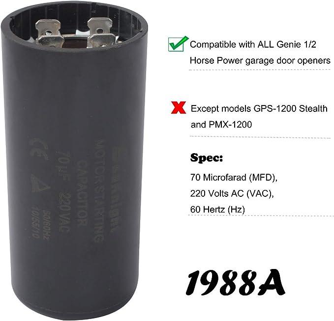 Genie 19988A Garage Door Opener Starting Capacitor 70 MFD