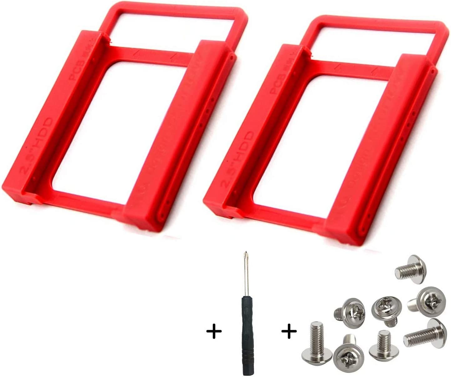 """ANZKA 2 Pcs SSD/HDD Mounting Bracket 2.5"""" to 3.5"""" Adapter Shockproof Plastic Holder 2.5 to 3.5 Converts Hard Drive Bay Notebook to Desktop for PC, with 8 Fixing Screws and 1 Screwdriver (Red)"""
