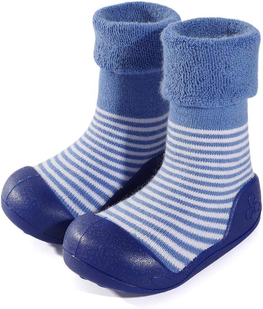 LACOFIA Zapatos de Calcetines Antideslizante de beb/é ni/ñas ni/ños Botas de calcet/ín con Suela de Goma para beb/é Unisex