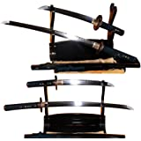 Lyuesword Japanese Sword Set of 2 Hand Forged Samurai Sword T-10 High Carbon Steel Full Tang Clay Tempered Wakizashi Tanto Sword Set of 2