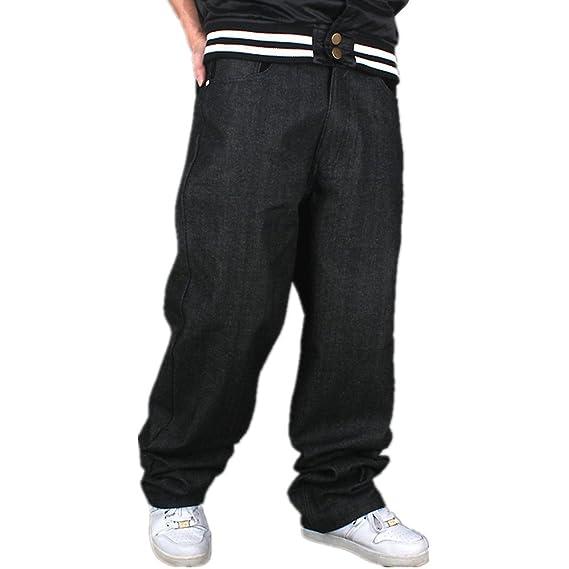 45b7ef4290 YY-Rui Men s Boy Baggy Loose Fit Hip Hop Black Denim Long Casual Pants Jeans
