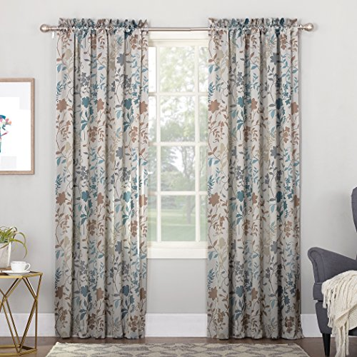 Sun Zero Kara Floral Print Energy Efficient Rod Pocket Curtain Panel, 54