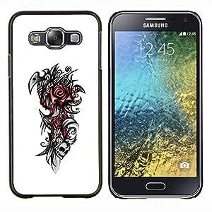 KLONGSHOP // Cubierta de piel con cierre a presión Shell trasero duro de goma Protección Caso - Rose del cráneo tribal - Samsung Galaxy E5 E500 //