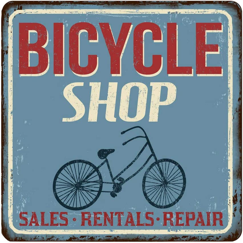 Promini Rustic Metal Tin Signs Bicycle Shop Vintage Rusty 1 Wall Decor Wall Art for Home Bar Coffee Room