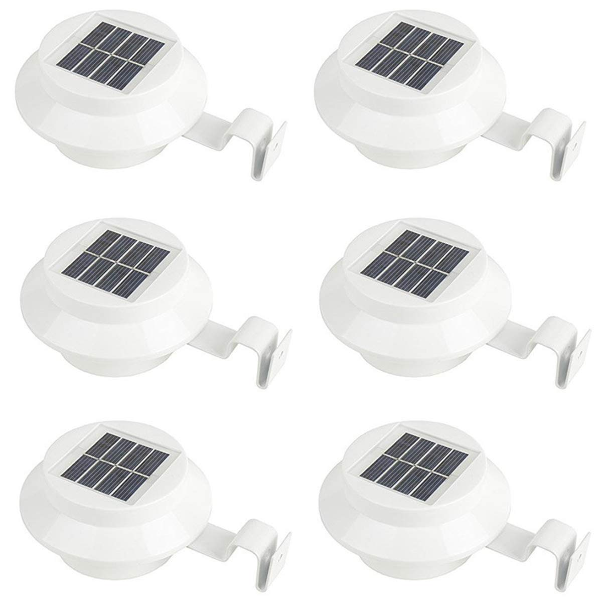 KingSo 3 LED Solar Powered Lights Outdoor LED Gutter Night Security Lamp for Fence Roof Driveway Garden Yard (6 Pack)