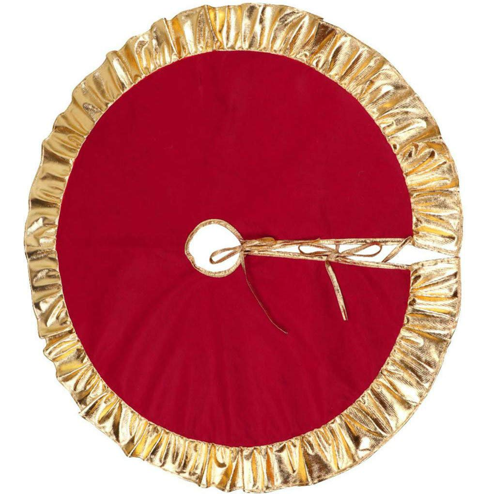 Aiming 90cm Red Christmas Tree Non-Woven Skirt with Gold Ruffle Edge Holiday Decorative Accessory