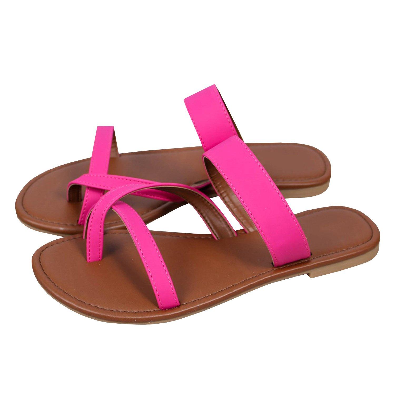 Outgobuy Damen Leder Thong Flache Ferse Sommer Sandalen Handgefertigt in Griechenland Flip Flops  37 EU|Rot