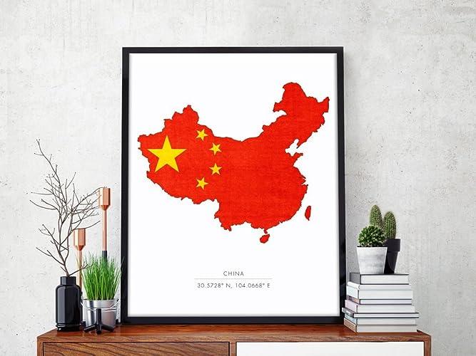 China Map Poster.Amazon Com China Map Poster Print Wall Art China Print Chengdu