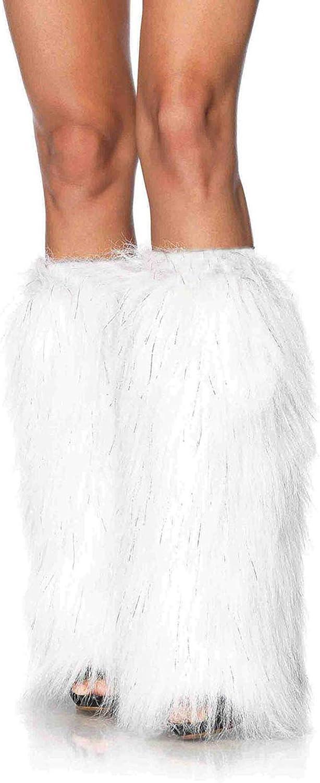 Leg Avenue Faux Fur Lorax Legwarmers for Women, White/Silver, One Size: Leg Avenue: Clothing