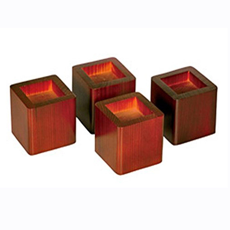 Richards Homewares Wood Bed Lifters, Mahogany (2-Pack of 4)