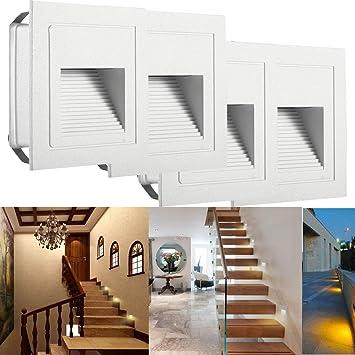 Aluminium 230 V Led W Murale D'escalier Éclairage Applique Avec Chaud Verre 3 Ip65 Blanc Lampe Encastré Subosi Boîtier Étanche En WE2IHD9