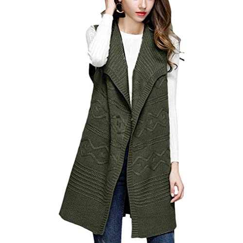 Zhuhaitf Agradable Popular Lapel Sleeveless Knitted Vest Cardigan Long Style Sweater Qualtiy for Pre...