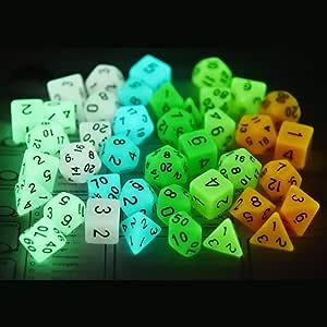 BBGoo Dados De rol 6 Colores Brillan en Dados poliédricos Oscuros para Mazmorras y Dragones Juegos de Mesa de rol D4 D6 D8 D% D10 D12 D20: Amazon.es: Juguetes y juegos