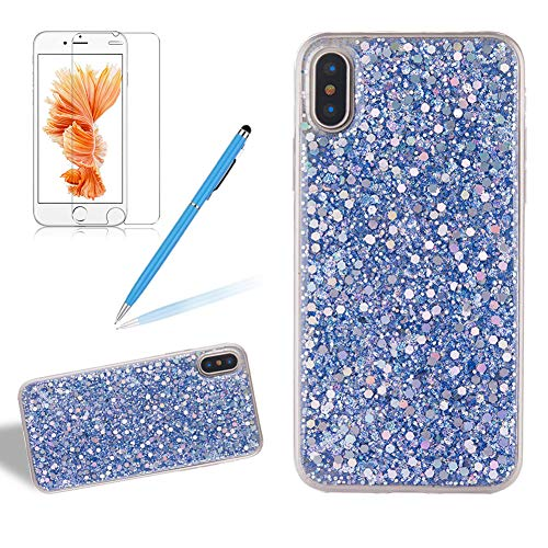 (for iPhone Xs Max Glitter Case with Screen Protector,Girlyard Luxury Sparkle Bling Sequins 3D Design Ultra Slim Clear Soft TPU Bumper Phone Cover for Apple iPhone Xs Max-Blue)