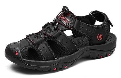 cc9e24b7eea0 Beeagle Mens Leather Outdoor Sports Hiking Sandals Trekking Lightweight  Athletic Fisherman Beach Shoes Black 39