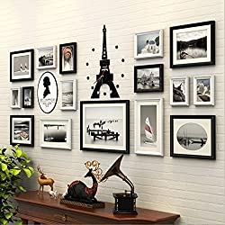JYH ojh Bedroom Photo Wall Acrylic Eiffel Tower Clock Background Wall 16 Frame Photo Frame Wall (Color : 2#)