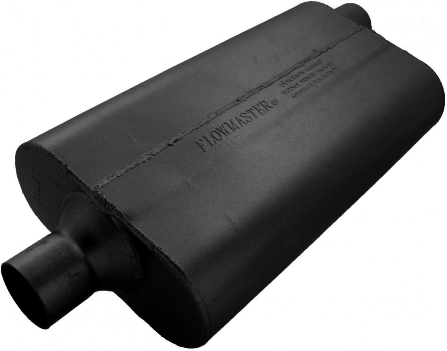 Flowmaster 942452 50 Delta Flow Muffler Center in Black 2.25 Offset Out-Moderate Sound Inlet Outlet
